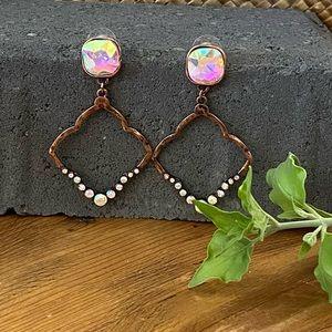 Gorgeous Coppertone Crystal Earrings